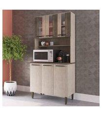 armário cozinha com 6 portas 2 prateleiras e cristaleira lilies móveis
