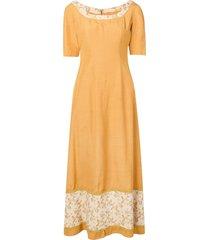 a.n.g.e.l.o. vintage cult 1960's floral detail maxi dress - yellow