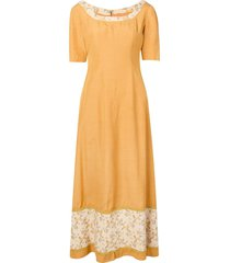 a.n.g.e.l.o. vintage cult 1960's floral detail maxi dress - yellow