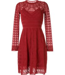 m missoni long-sleeved knitted dress - red