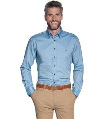 campbell casual overhemd met lange mouwen aqua blauw