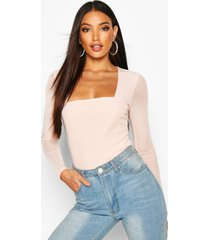 mesh square neck long sleeve top, blush