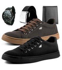 kit 2 pares de sapatênis dhl masculino marrom e preto + relógio + cinto e carteira