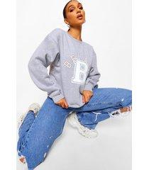bel air sweater met tekst, charcoal
