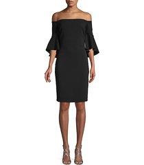 flare-sleeve crepe dress