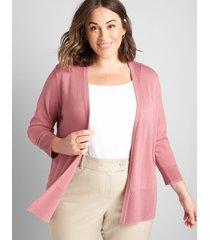 lane bryant women's lane essentials rib-trim cardigan 10/12 mesa rose