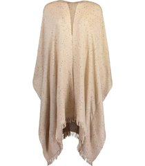 cashmere and silk poncho - almond