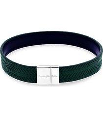 reversible embossed herringbone sterling silver & leather bracelet