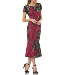 women's js collections soutache embroidered lace midi dress