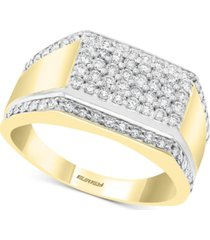 effy men's diamond cluster ring (7/8 ct. t.w.) in 14k gold & white gold