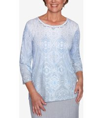 alfred dunner petite french bistro ombre medallion-print top