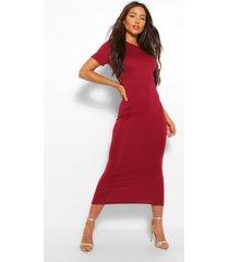 basic short sleeve midaxi dress, berry