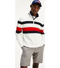 tommy hilfiger men's relaxed fit organic cotton mockneck sweater white/navy/red - xs