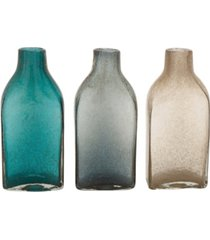"""cosmoliving by cosmopolitan set of 3 multi colored glass coastal vase, 6"""" x 15"""""""