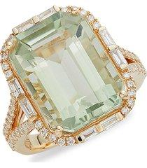 effy women's 14k yellow gold, green amethyst & diamond statement ring/size 7 - size 7