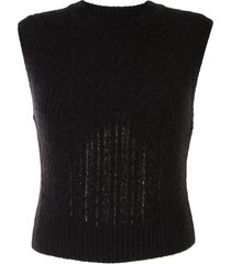 low classic cable knit pullover - black