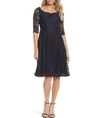 women's la femme fit & flare lace dress, size 4 - blue