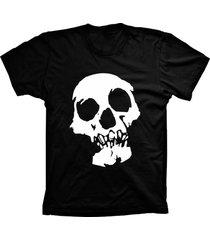camiseta lu geek manga curta caveira preto