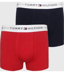 kit 2pã§s cueca tommy hilfiger boxer lettering azul-marinho/vermelho - azul marinho - masculino - algodã£o - dafiti