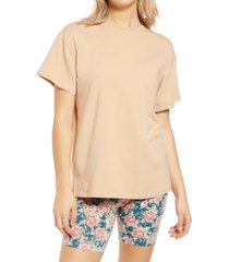 afrm bacio oversize tunic t-shirt, size x-small in nude at nordstrom