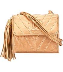 chanel pre-owned v stitch tassel crossbody bag - gold