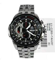 reloj casio ef-558d-1a lujoso para caballero  plateado/ negro