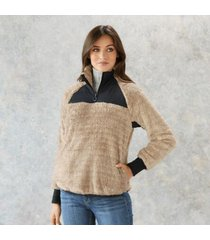 sundance catalog women's yana 1/4 zip pullover in hthroatmel xs