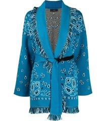 alanui bandana jacquard cashmere cardigan - blue