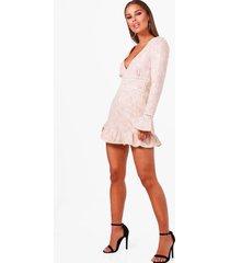 petite kanten skater jurk met laag decolleté en losvallende zoom, nude
