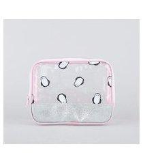 nécessaire feminina maletinha com glitter e estampa de pinguim trasparente