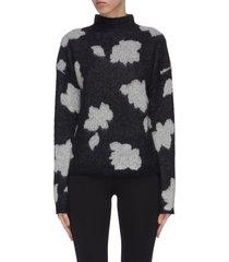 'floral po' intarsia mock neck sweater