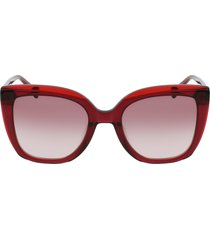 longchamp le pliage 53mm gradient rectangular sunglasses in burgundy/brown at nordstrom