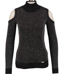 guess korte zwarte slim fit trui met zilverdraad valt kleiner