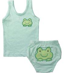 conjunto de bebê mafessoni verde regata e tapa fralda com bordado