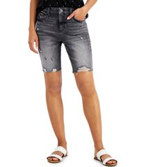 style & co ripped denim bermuda shorts, created for macy's
