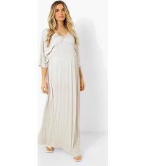 zwangerschap maxi jurk met vleermuismouwen en geplooide taille, ecru