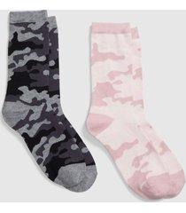 lane bryant women's 2-pack crew socks - camo onesz black