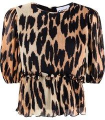 ganni pleated georgette blouse
