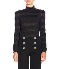 balmain sweater balmain turtleneck sweater with lurex bands and jewel buttons
