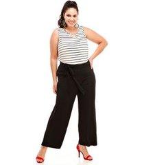 calça melinde pantalona plus size lisa feminina