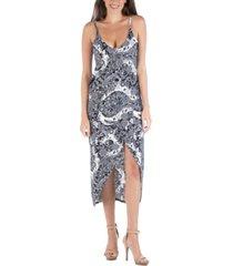 24seven comfort apparel cami top midi paisley wrap dress