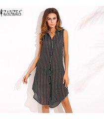 zanzea nueva llegada vestido de otoño camisa de mujer con estampado de rayas vestido de solapa sin mangas hem split hem casual tops largos negro -negro