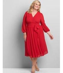 lane bryant women's crossover 3/4-sleeve midi dress 24 venetian red