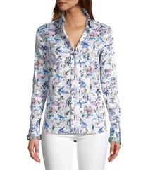 robert graham women's priscilla floral shirt - white - size xs