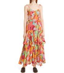 farm rio fruit salad ruffle dress, size large at nordstrom