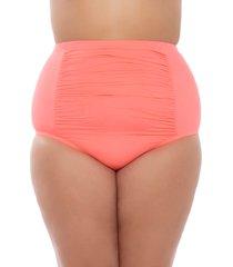 plus size women's becca etc. color code high waist bikini bottoms, size 0x - pink