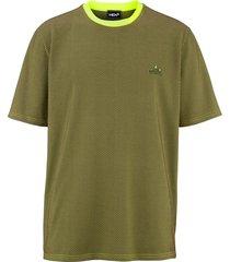 t-shirt men plus olijf::neongroen