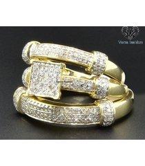 1.76 ct diamond trio set matching wedding band ring 14k yellow gold 925 silver
