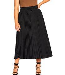 plus size women's city chic pleated tie waist skirt, size x-small - black