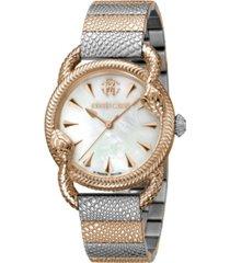 roberto cavalli by franck muller men's swiss quartz two-tone stainless steel bracelet watch 34mm